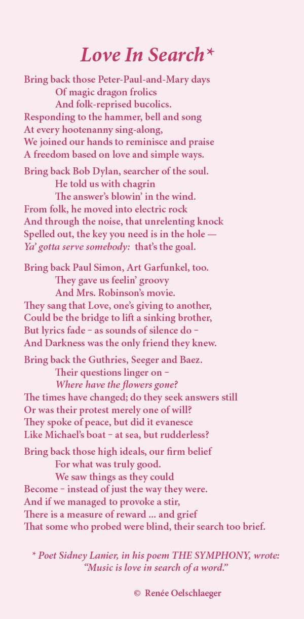 Love-In-Search, peter, paul and mary, bob dylan, simon & garfunkel, sidney lanier, the symphony, love in search, poem