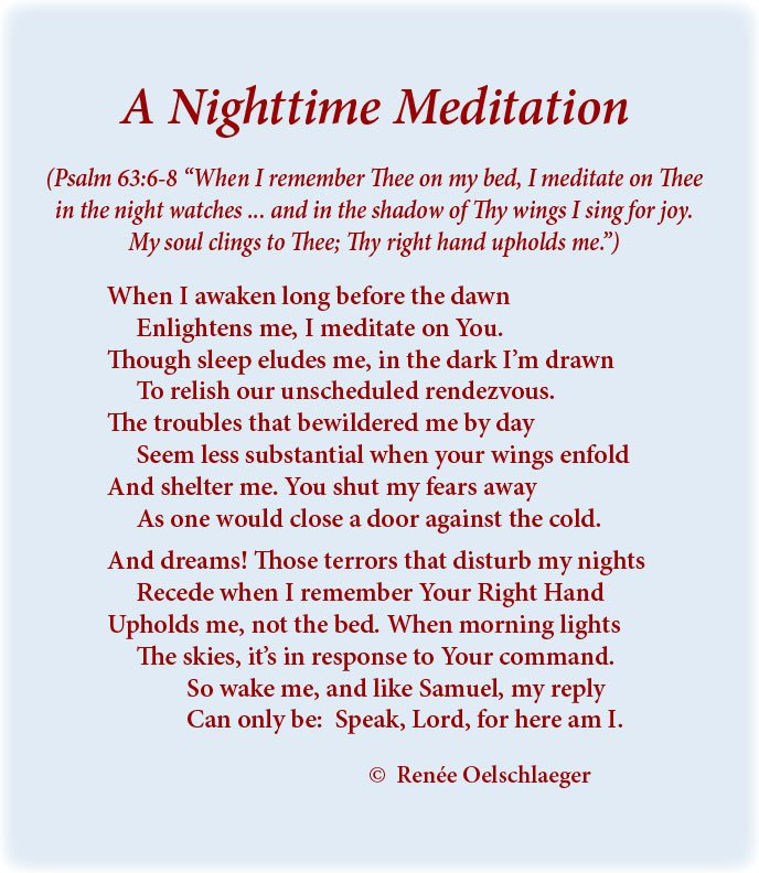 Nighttime-Meditations, night terrors, meditations, dreams, unscheduled rendezvous, Samuel, Speak, Lord, Psalm 63:6-8, sonnet, poetry, poem