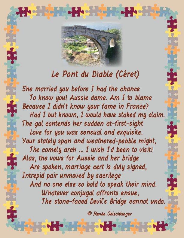 marriage, french bridge, le pont du diable, devil's bridge, france, sonnet, poetry, poem