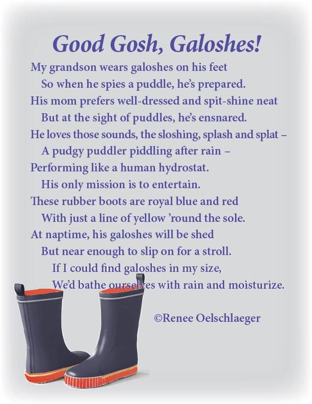 Galoshes, grandson, puddles, rubber boots, sonnet, poetry, poem