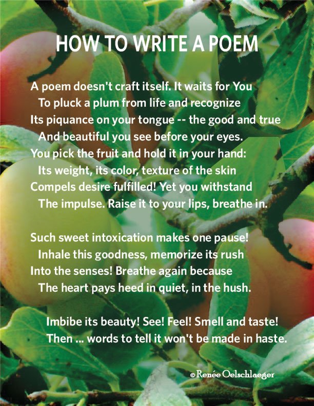 How-To-Write-A-Poem, plums from life, intoxication, truth, beauty, goodness, writing, sonnet, poetry, poem