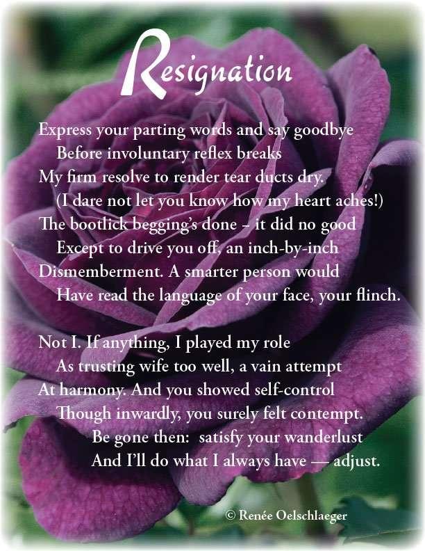 Resignation, divorce, marriage, marital dissolution, sonnet, poetry, poem