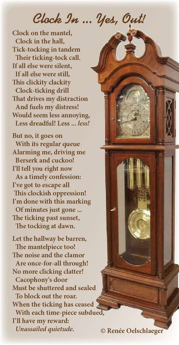 Clock-In, clock, ticking, tocking, quietude, distractions, silence, light verse, poetry, poem