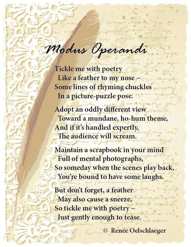 Modus-Operandi, poetry, writing poetry, light verse, tickle me with poetry, poem