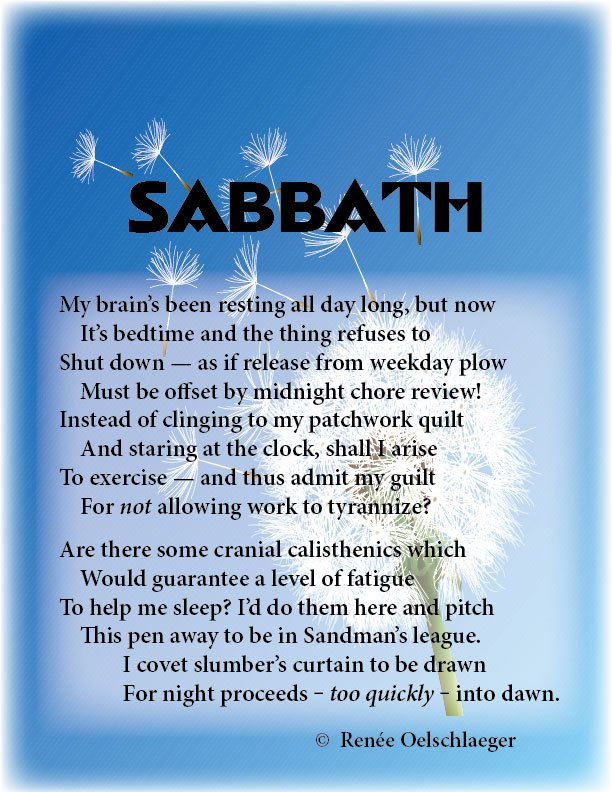 Sabbath, day of rest, slumber, insomnia, sonnet, poetry, poem
