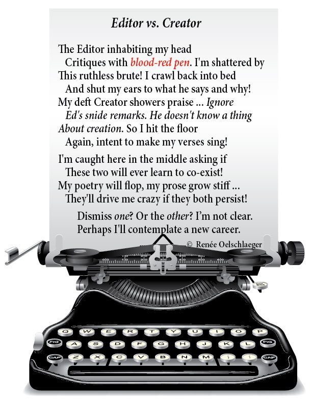 Editor-vs-Creator, writing, poetry, sonnet, editor, creator, poem