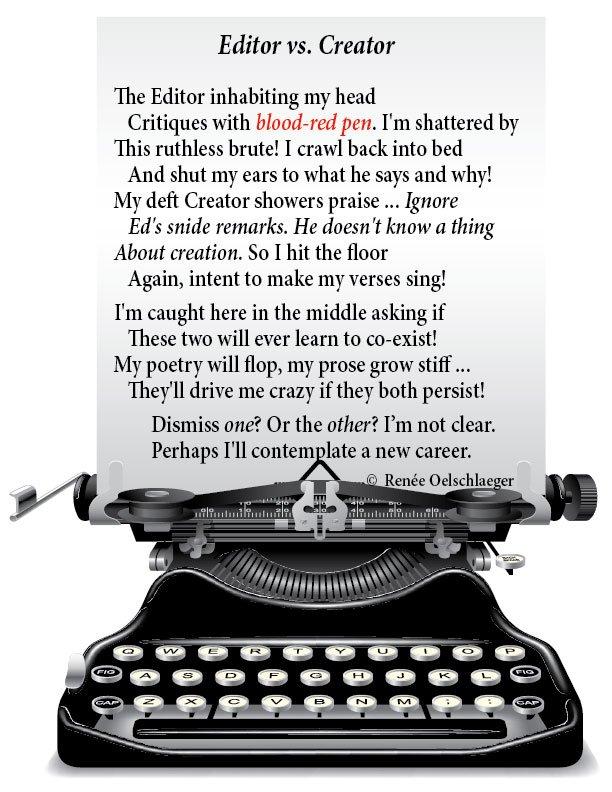Editor-vs-Creator, writing, poetry, sonnet, editor, creator, poem