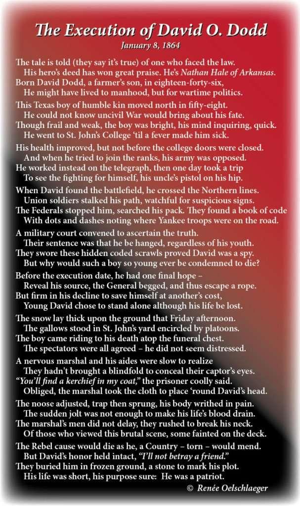 Execution-of-David-O-Dodd, Nathan Hale of Arkansas, history, civil war, poetry, poem