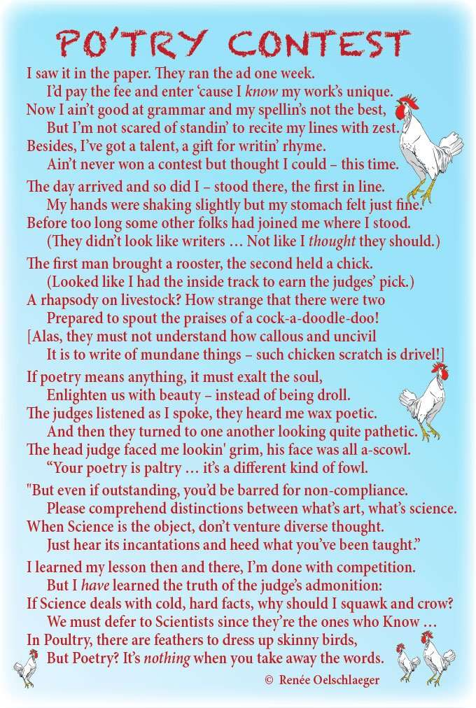 Po-try-Contest, poetry, poultry, light verse, poem, chickens