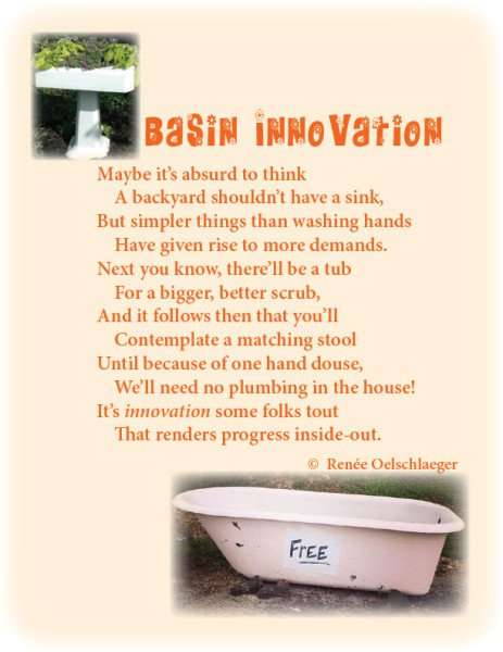 Basin-Innovation, backyard, sink, tub, outhouse, plumbing, light verse, poetry, poem