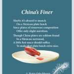 Chinas-Finer, Mexican plate lunch, lunch, light verse, poetry, poem