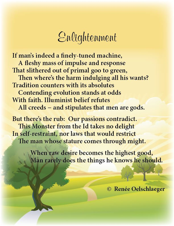Enlightenment, humanism, evolution, belief, monster from the id, poetry, sonnet, poem