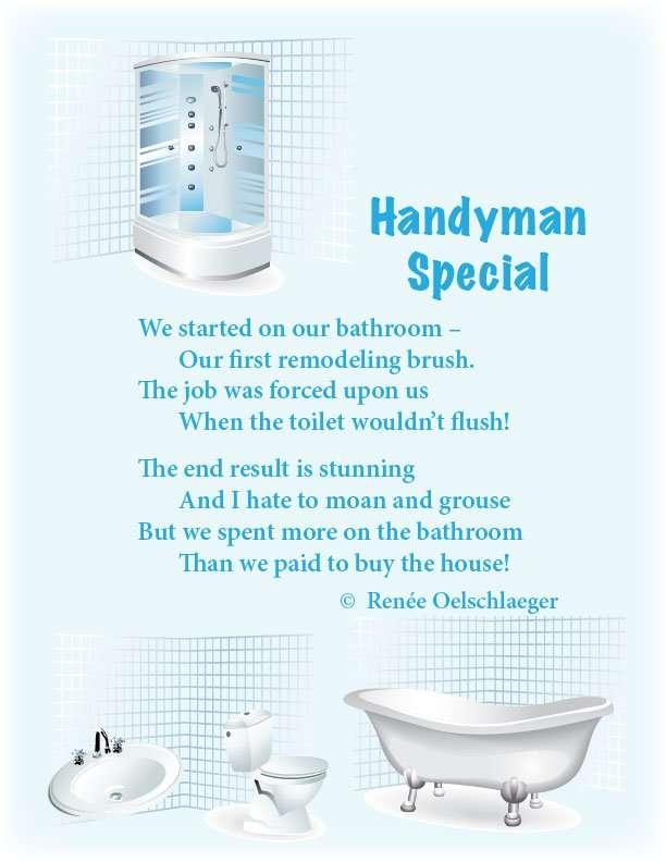 Handyman-Special, remodeling, renovation, bathroom updates, poetry, light verse, poem