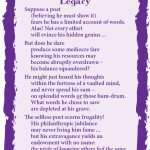 Legacy, writing, being a poet, light verse, poetry, poem