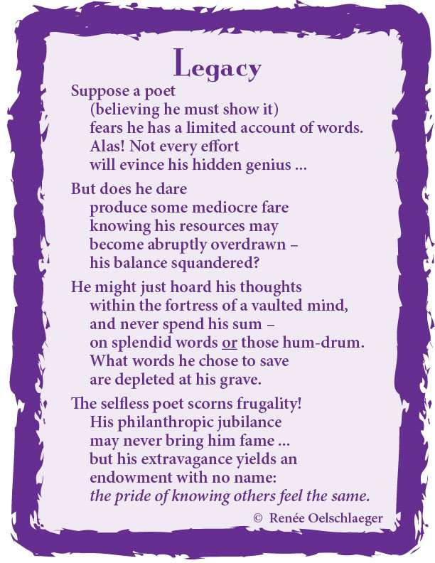 Legacy, writing, being a poet, light verse, poetry, poem