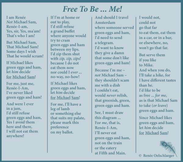 Free-To-Be, Michael Sam, out of the closet, green eggs & ham, light verse, poetry, poem