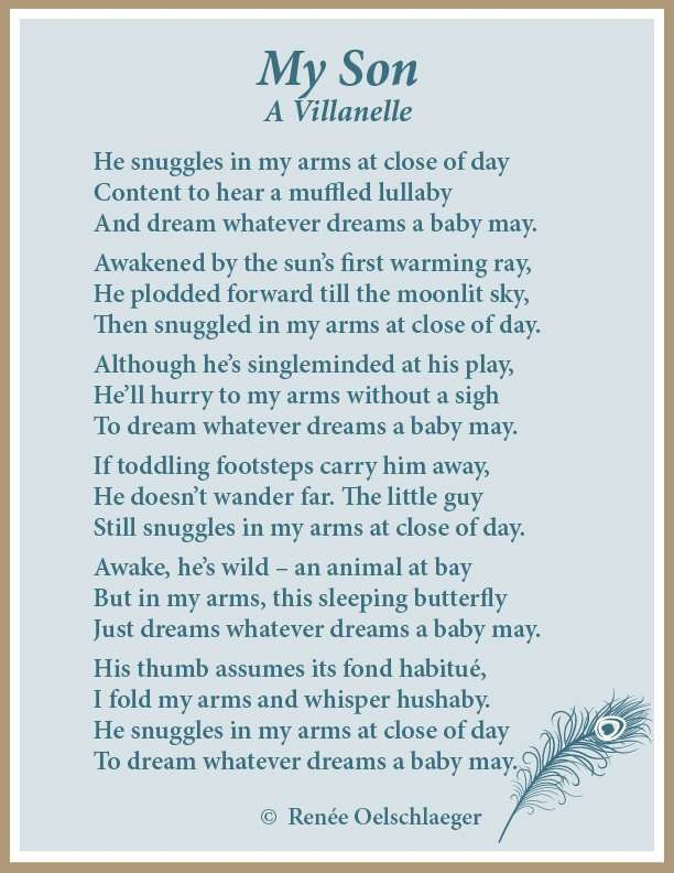 villanelle, mother and son, son, love poem, poetry, poem, light verse