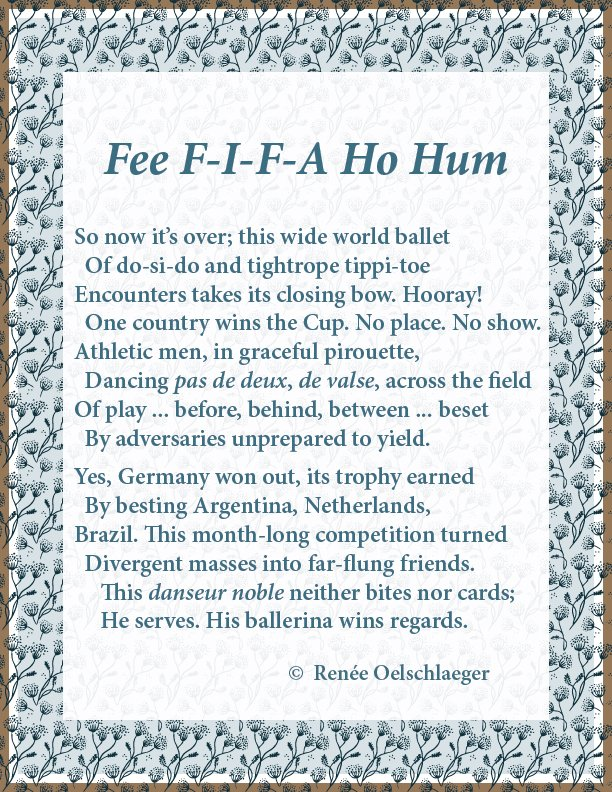 FIFA, ballet, danseur noble, ballerina, sonnet, poem,