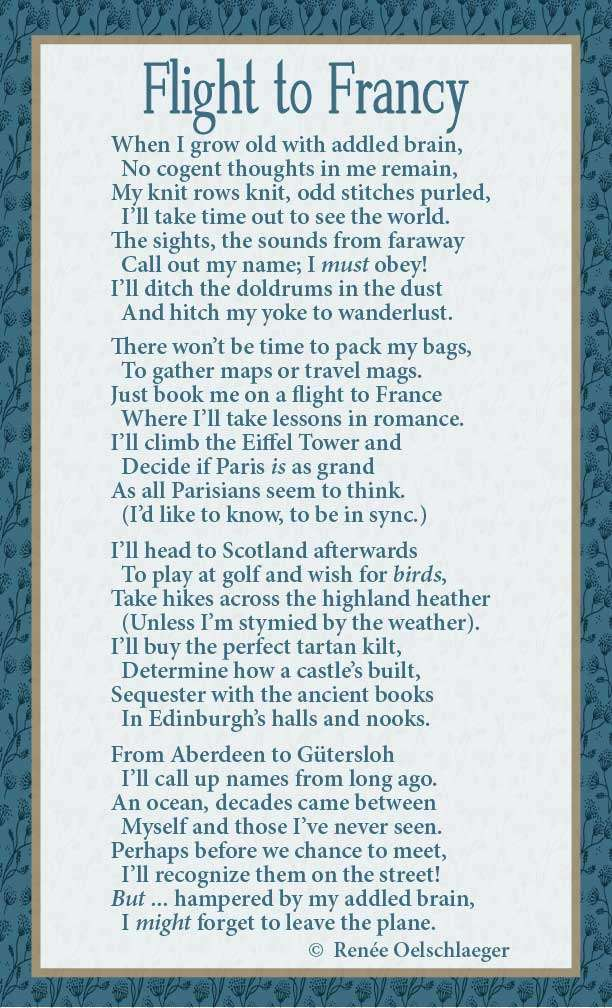 France, Paris, Scotland, Aberdeen, Gutersloh, addled brain, Edinburgh, wanderlust, doldrums, romance, light verse, poem