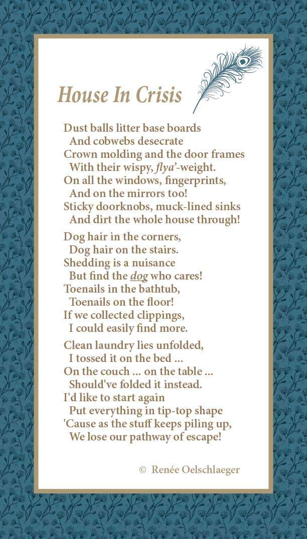home renovation, messy house, dust balls, dog hair, toenail clippings, light verse, poetry, poem