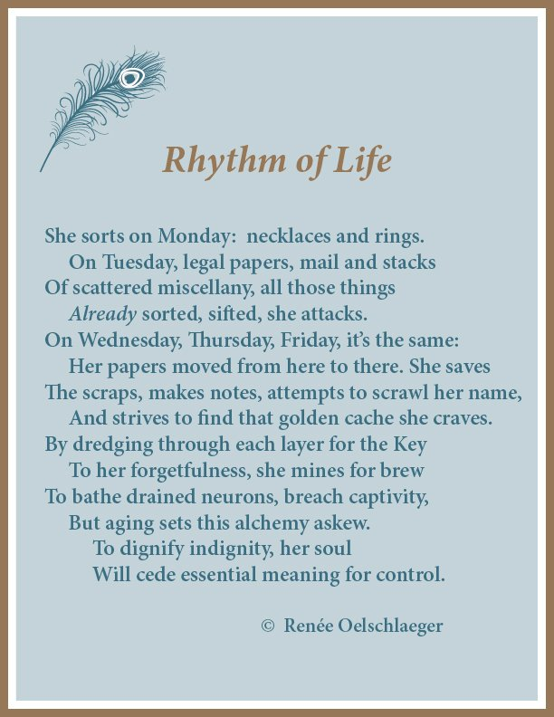 Rhythm of Life, Alzheimer's, routine, sonnet, poetry, poem