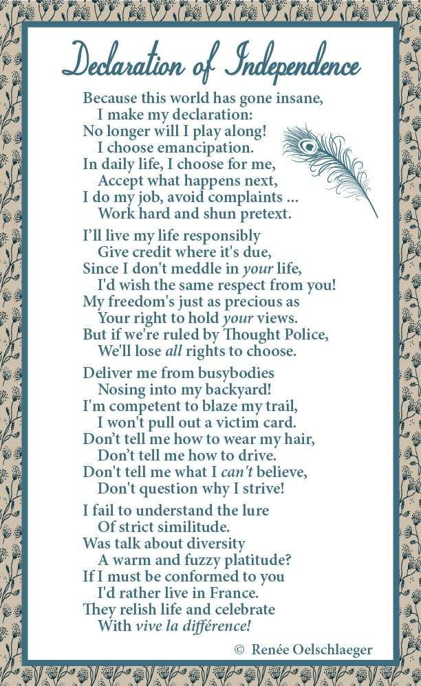 Declaration of Independence, poetry, poem, verse
