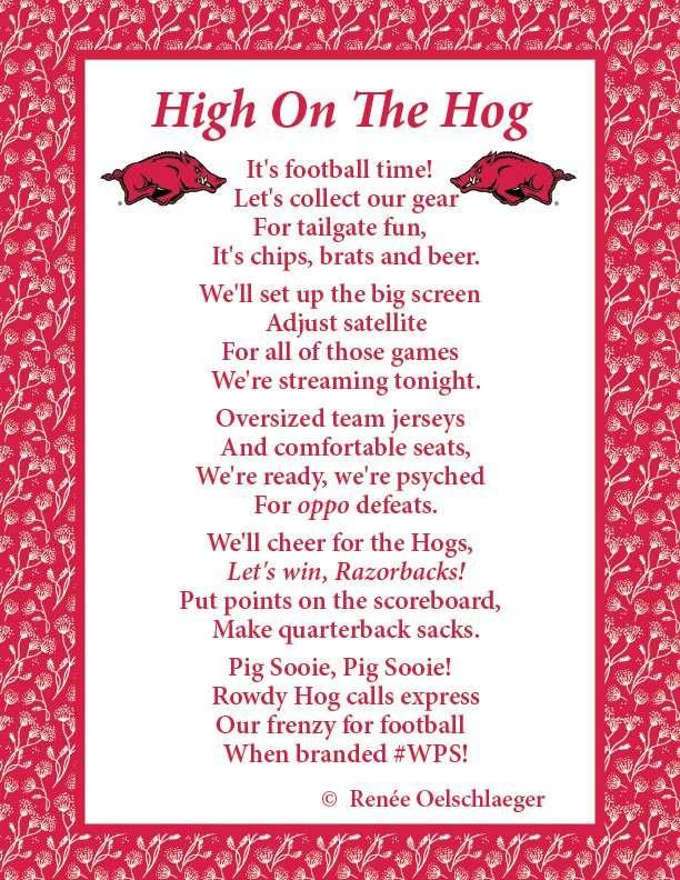 High On The Hog, poetry, verse, Razorbacks, Arkansas, football