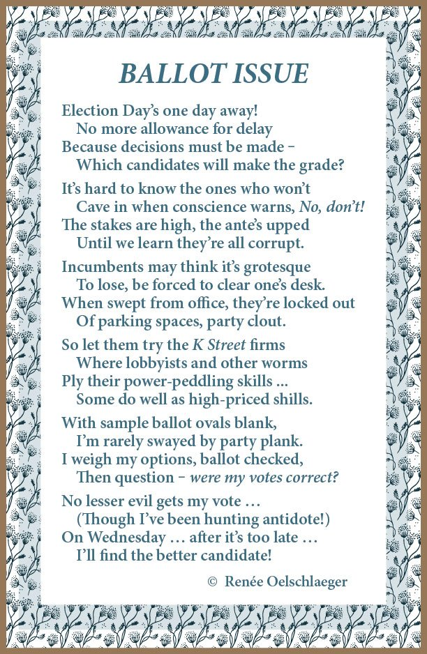 Ballot Issue, elections, voting, poetry, poem, verse