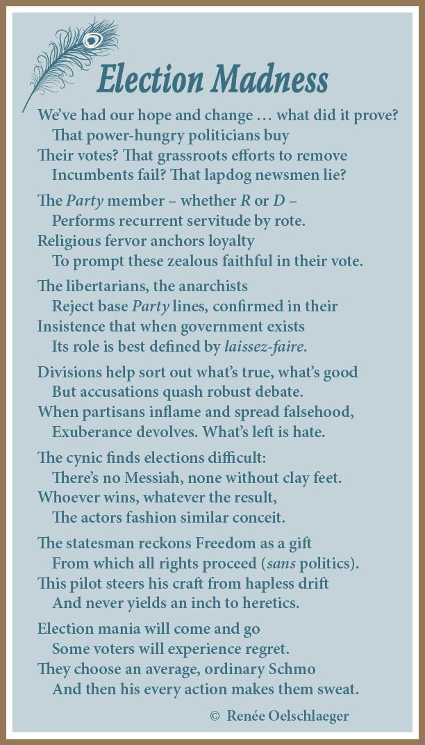 Election Madness, poetry, verse, elections