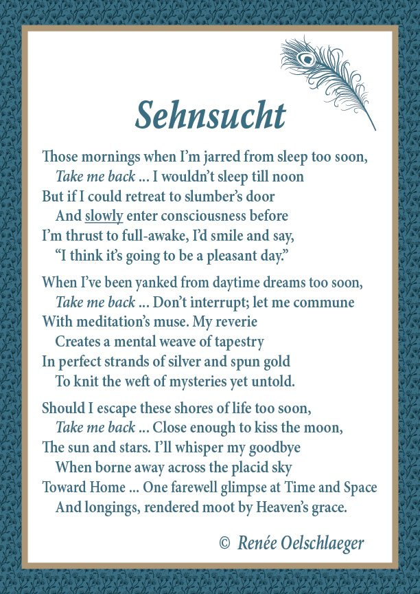 Sehnsucht, poem, poetry, verse, dreams, sleep, death
