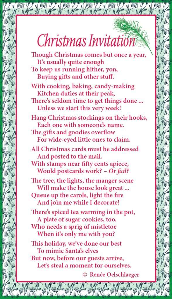Christmas Invitation, light verse, poem, poetry