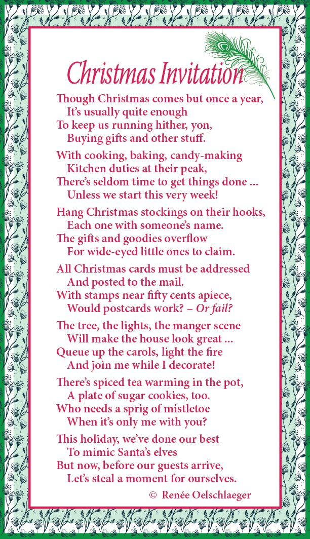 Christmas Invitation, light verse, poem, poetry
