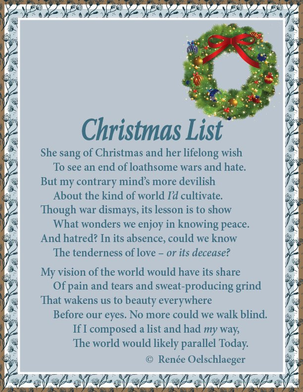 Christmas List, sonnet, poem, poetry