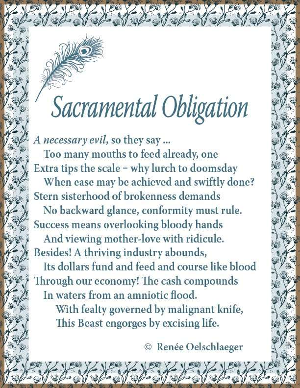 Sacramental Obligation, sonnet, poem, poetry, abortion