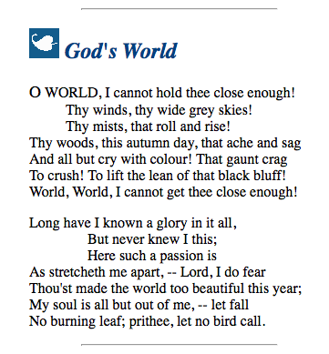God's World - Millay